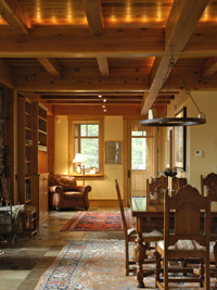 Samuelson Timberframe Design - Timber frame Interiors west coast style architecture