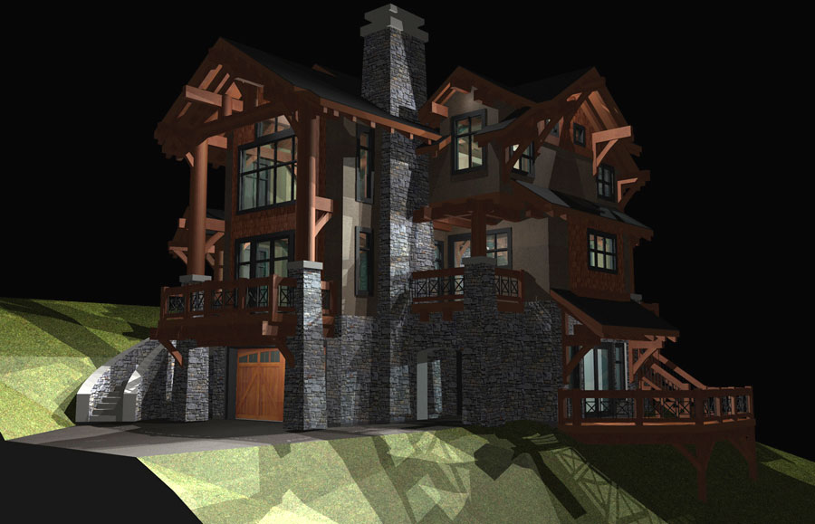 California Timber Frame Night View