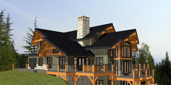 Samuelson timberframe design custom timber frame home for Luxury timber frame home plans