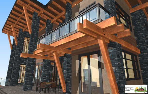 West Coast Contemporary style timberframe design